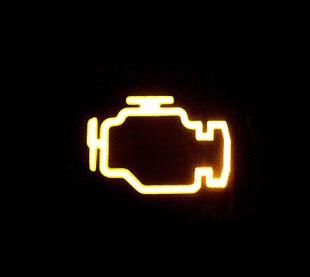 image of a solid check engine light